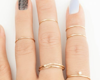 14k gold midi ring, 0.75mm hammered textured knuckle ring, extra thin band, simple dainty midi rings, delicate ring, gol-r101-0.75mm (midi)