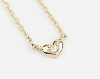 14k gold diamond heart necklace, tiny diamond heart necklace, diamond heat necklace, yellow gold, rose gold, white gold, hea-n102-dia