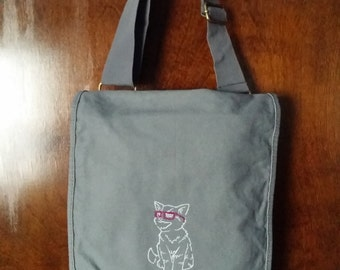 Cat with Glasses Messenger Bag