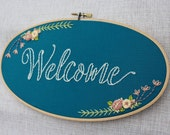 Welcome Teal Blue Floral Handmade 5x9 inch Oval Embroidery Hoop Art. Ready to Ship. Home Decor. Housewarming Gift. Gifts Under 50.