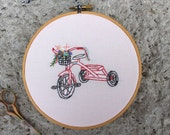 Vintage Tricycle Floral Hoop Art. Ready to ship. Handmade 6 inch Embroidery Hoop Art. Home Decor. Nursery Decor. Gifts Under 50.