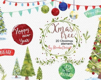 Christmas Cliparts, Watercolor Christmas Clip Art, Christmas Tree, Watercolor Overlays, Winter Card Elements Commercial Use