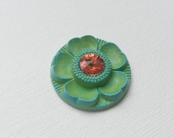Vintage Green Flower Cabochon with Swarovski Crystal Accent - Coral - PA1052