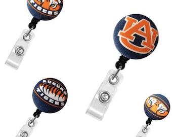 ID Badge Holder Retractable • Badge Clip • Gift • Badge Holder •  Nurse Badge Reel • ID Badge Reel • ID Badge Holder • Auburn Tigers Badge