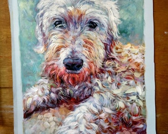 Hand Painted Custom Dog Oil Painting (paint pet or animal from photo),  Commission Portrait Painting