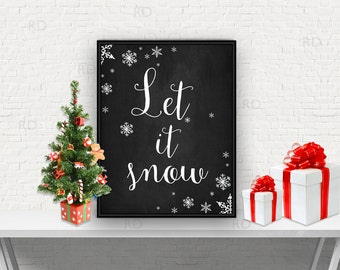 Let it Snow Printable - holiday art / home decor / Christmas art / Let it Snow lyric art / Christmas Lyrics Printable / Christmas Printable