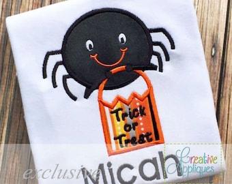 Halloween Spider Digital Machine Embroidery Applique Design 4 sizes, spider applique, trick or treat applique, halloween spider applique