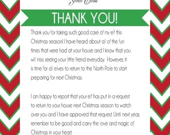 Welcome goodbye elf letter elf on the shelf cards elf instant download printable pdf santa thank you letter for elf goodbye pronofoot35fo Images