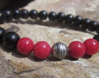 beaded bracelet mens bracelet women's bracelet red river stone silver black wood bracelet Stretch bracelet unisex Bracelet