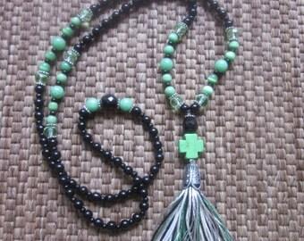 Long beaded tassel necklace black obsidian lava stone green stone cross tassel necklace country chic long beaded bohemian tassel necklace