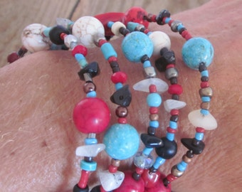 Bohemian bracelet wrap Turquoise red white black stone rustic beads coral stacking bracelets 5 wrap memory wire bangle hippie bracelet