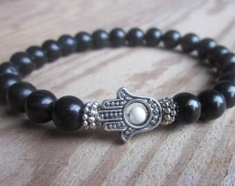 Hamsa hand black stone beads meditation yoga healing energy protection good luck health and happiness strength focus unisex stretch bracelet