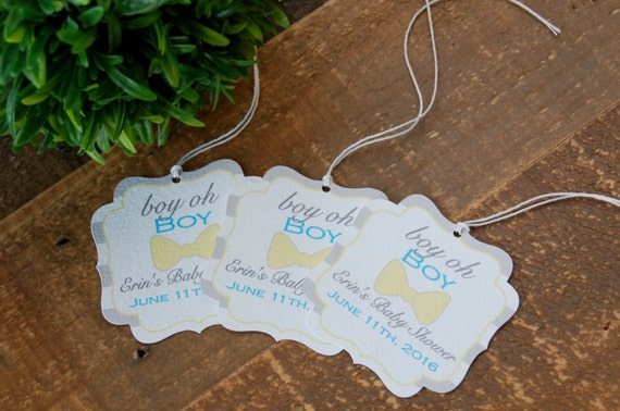Little Man Baby Shower Favor Tags Bow Tie Baby Shower Favor Tags