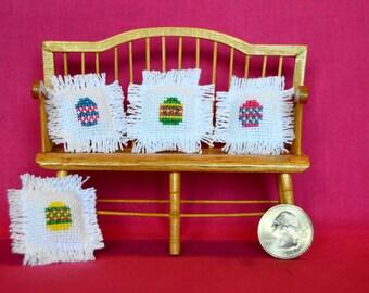 Cross Stitch Easter Egg Dollhouse Miniature Pillows Set of 4
