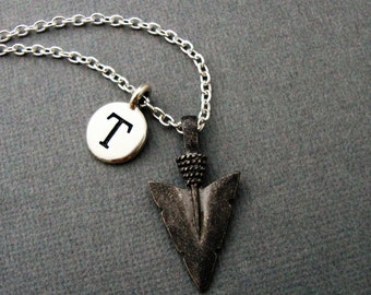 Arrowhead Necklace, Spear Necklace, Native American Spear Keychain, Custom Initial American Indian Necklace, Tribal Arrow Head Jewelry