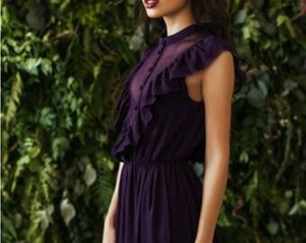 Plunging neckline purple maxi dress