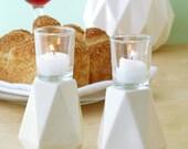 white Shabbat candlesticks, Geometric candlesticks, Modern Judaica, Ceramic candle holders, Bat - Mitzvah gift,passover gift,