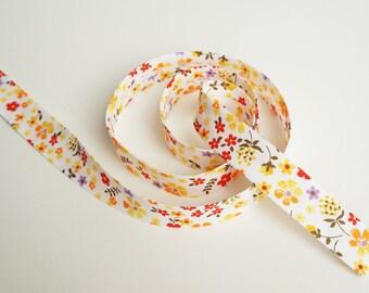 Floral Bias Tape, 3 yards, Floral Bias Binding, Double Fold Bias Tape, Bias Trim, Bias Binding, Decorations, Yellow Flowers