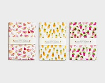Notebook, journal, diary, watermelon, pineapple, strawberry, handmade, stationery, carnet, pasteque, ananas, papeterie, journal intime
