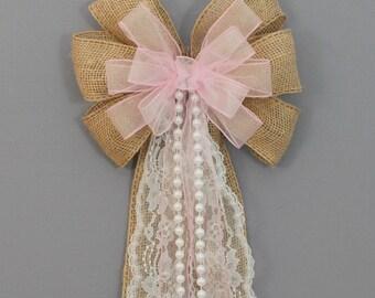 Burlap Lace Pearls Pink Burlap Wedding Bow - Rustic Church Pew Decorations, Burlap Wedding Aisle Decorations, Wedding Ceremony Bow
