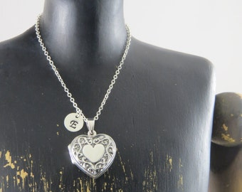 Sterling silver heart locket necklace, personalized heart locket, Valentines day gift, gift for her, keepsake necklace, anniversary present