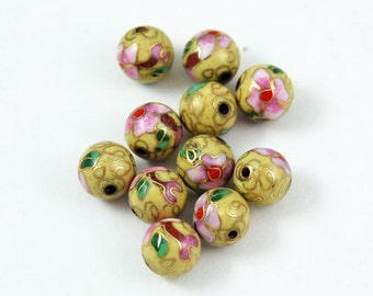 Cloisonne Yellow & Pink Round Beads Chinese Enamel Floral 6mm (12) Vintage