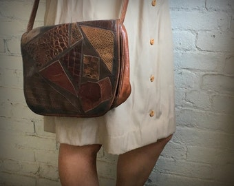 Carlos Falchi Patchwork Messenger Bag