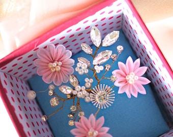 Bridal Hair Pin, Bridal Hair Flower, Pink, Bridal Fascinator, Wedding, Accessories, Floral Hair Pin, Bridesmaid Hair Pin, Pink