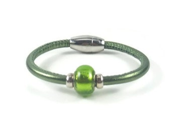 Green Leather Wrap Bracelet, Womens Leather Bracelet, Womens Leather Jewelry, Leather Bracelet, Leather Wrap Bracelet