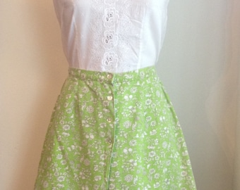 1960s Lovely Lime Floral Canvas Cotton Skort/Shapely Classic