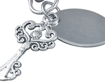 Personalised / engraved key shape keyring keychain in gift pouch - PL29