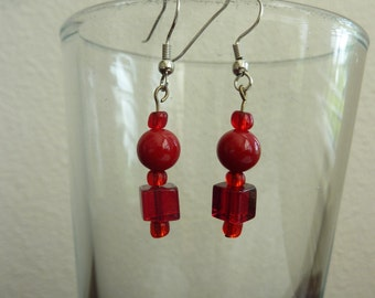Beaded Red Dangle and Drop Earrings