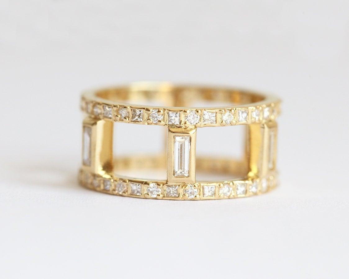wide diamond ring wide wedding bands Diamond Wedding Ring Diamond Wedding Band Wide Diamond Band Baguette Eternity Band Baguette Diamond Ring Baguette Wedding Ring 18k