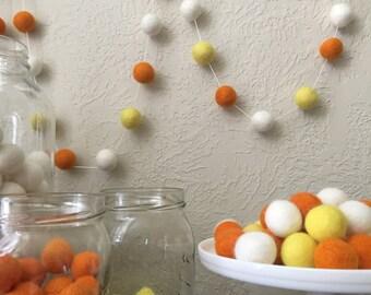Halloween Candy Corn Felt Ball Garland, Pom Pom Garland, Halloween Party, Classroom Party, Orange, Yellow Felt Balls