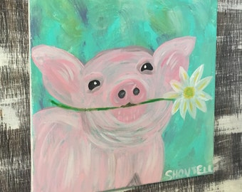 Pig Painting- Acrylic Pig- Pig- Pig Art- Daisy- Daisy Painting- Floral Painting- Farm Animal- Farm Decor- Farm Painrting- Pet Portrait- Pink