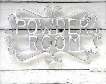 Powder Room Sign, Metal Bathroom Sign, Shabby Chic Decor, Bath Decor, Powder