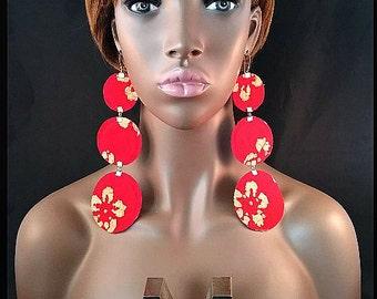Red Triple Fabric Earrings