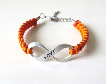 Orange LOVE Awareness Charm Bracelet Leukemia, MS, Kidney Cancer, ADHD, Self Injury, Rsd Crps Charm Bracelet