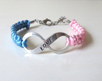 Pink and Blue Awareness LOVE Charm Bracelet SIDS Pregnancy Infant Loss Infertility Inflammatory Breast Cancer Male Breast Cancer Pro Life