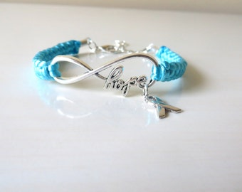 Dysautonomia HOPE Turquoise Awareness Charm Bracelet with Optional Hand Stamped Alphabet Letter Charm