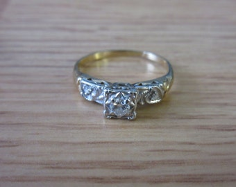 14k White and Yellow gold 1/10 ct Diamond Engagement Ring