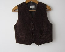 Boys Chocolate Brown Formal Vest Fitted Children's Waistcoat Size 152/158