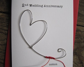 2nd Wedding Anniversary Keepsake Card COTTON Wire Heart 2 Years Traditional Gift Husband Wife Size
