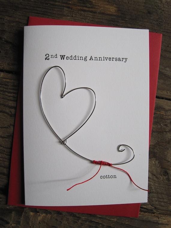 Gift For Husband 2nd Wedding Anniversary : 2nd Wedding Anniversary Keepsake Card COTTON Wire Heart 2 Years ...