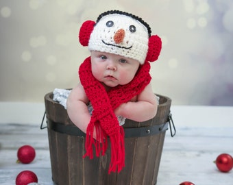 Snowman Hat and Baby Scarf Baby Snowman Hat with Earmuffs Christmas Winter Snowman Hat and Scarf Photo Props