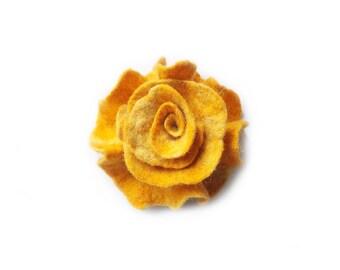 Felted flower brooch  felt flower brooch flower felt yellow wool floral brooch merino wool brooch spring boho gift OOAK