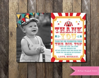 Circus Thank You Card, Carnival Birthday Party, Big Top, Tickets, Circus Birthday Party, Girls Boys Birthday Party, Circus, Sunburst