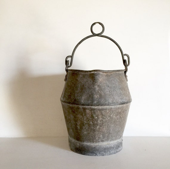 French antique zinc bucket shabby chic garden bucket for Galvanized well bucket