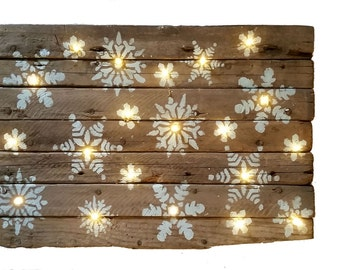 Barn Wood Lit Snowflakes Wooden Sign, Winter, LED lights, Snow Christmas Decor, Holiday Inspirations, Country cottage, Christmas Barnwood