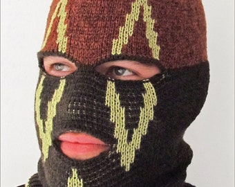 Knitted Black and Green Ski Mask Tuque Convertible